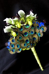 peacock feather fan bouquet